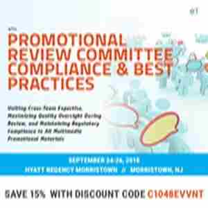 6th Promotional Review Committee Compliance and Best Practices in Morristown on 24 Sep