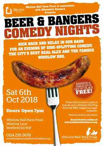 Beer and Bangers Comedy Night in Sheffield on 06 October 2018