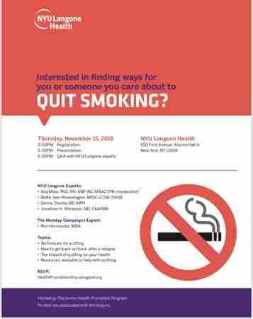 Free Quit Smoking information and Q&A Event Nov. 15th at NYU Langone in New York on 15 Nov