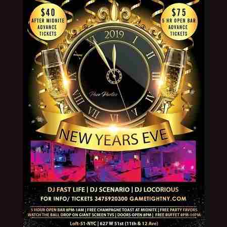 Loft 51 NYC 5 Hours Openbar & Buffet NYE 2019 in New York on 31 Dec
