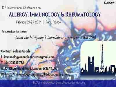 12th International conference on Allergy, Immunology & Rheumatology in London on 21 Feb