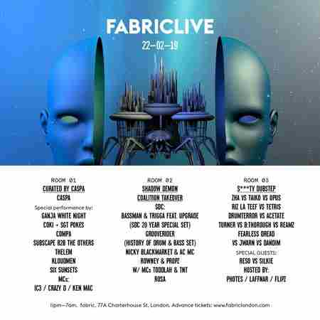 FABRICLIVE: Curated by Caspa, Shadow Demon Coalition & More in Greater London on 22 Feb