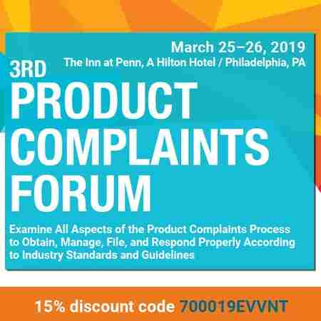 3rd Product Complaints Forum in Philadelphia on 25 Mar