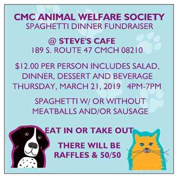 SPAGHETTI DINNER BENEFITING ANIMAL WELFARE SOCIETY OF CAPE MAY COUNTY in Middle Township on 21 Mar