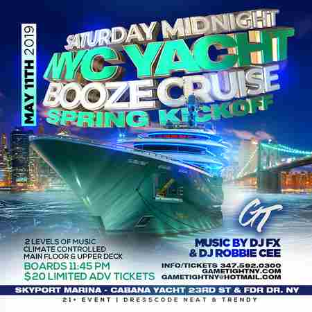 NYC Saturday Midnight Booze Cruise Yacht Party Skyport Marina in New York on 11 May