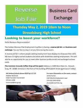 Reverse Job Fair/Business card Exchange in Stroudsburg on 2 May