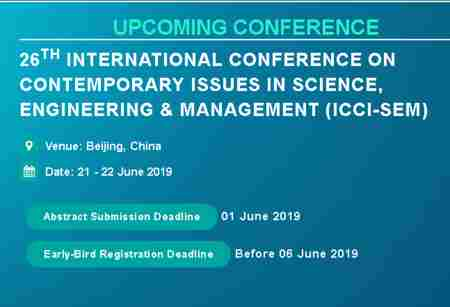 26th ICCI-SEM in Beijing on 21 Jun