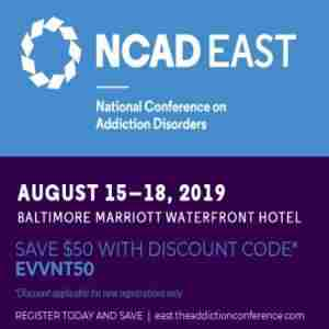 National Conference on Addiction Disorders East 2019 in Baltimore on Thursday, August 15, 2019