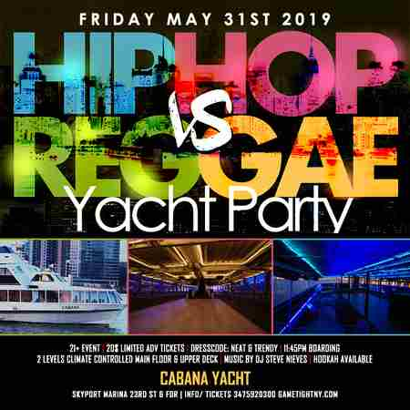 NYC Hip Hop vs. Reggae Yacht Party at Skyport Marina Cabana Yacht in New York on Friday, May 31, 2019