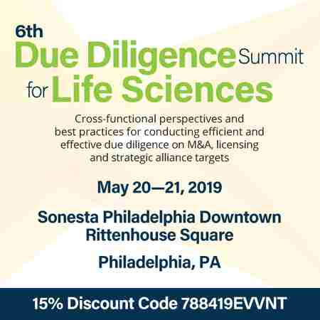 The 6th Due Diligence Summit for Life Sciences in Philadelphia on 20 May