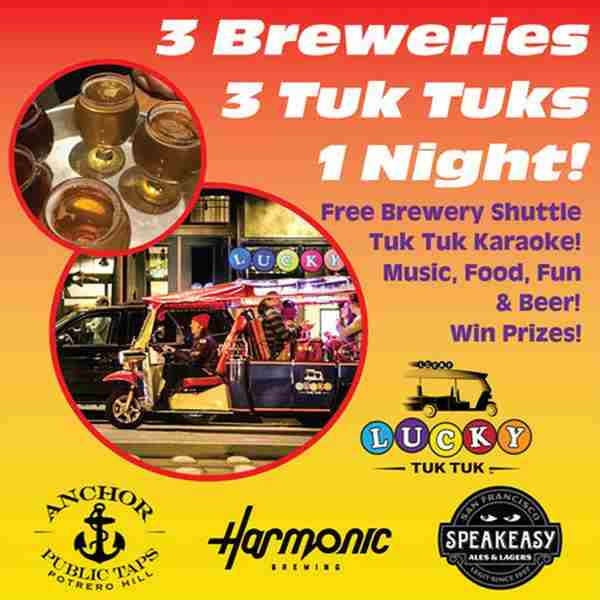 3 Craft Brews - 3 Tuk Tuks - 3 Hours - Lucky Tuk Tuk Craft Beer Shuttle in San Francisco on 17 May