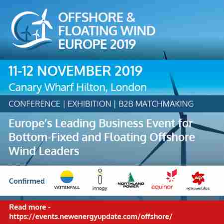 Offshore And Floating Wind Europe 2019 (11-12 Nov) with Tidal Summit (ITES) in London on 11 Nov