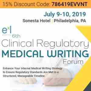 6th Clinical Regulatory Medical Writing Forum in Philadelphia on 9 Jul