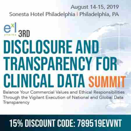3rd Disclosure and Transparency for Clinical Data Summit in Philadelphia on 14 Aug