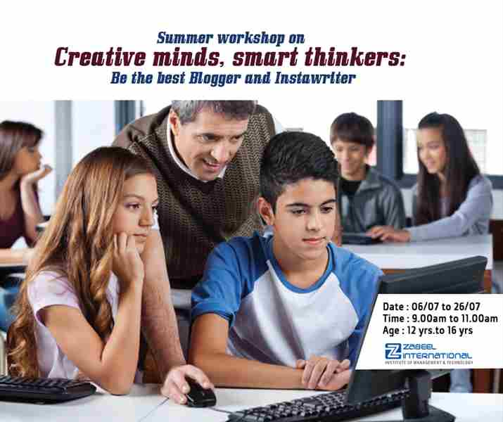 summer workshop on Creative Minds, Smart Thinkers in DUBAI on 6 Jul