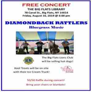 Free Concert - Diamondback Rattlers in Big Flats on 16 Aug