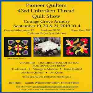 Pioneer Quilters Quilt Show in Cottage Grove on 19 Sep
