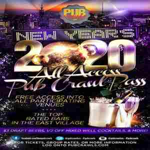 New York City New Year's Eve All Access Pub Crawl Pass - NYE 2020 in New York on 31 Dec