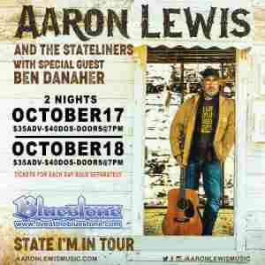 Aaron Lewis Thursday, October 17th at The Bluestone in Columbus on 17 Oct