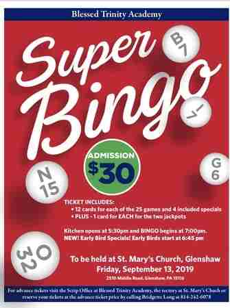 Blessed Trinity Academy's Super Bingo in Glenshaw on Friday, September 13, 2019