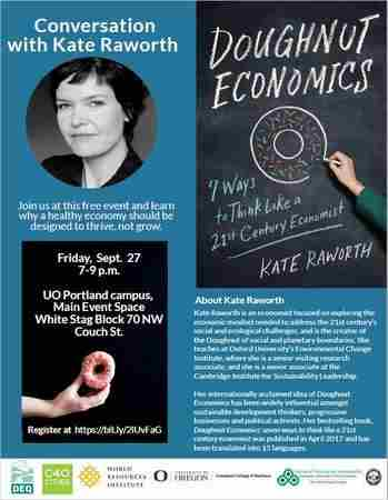 Conversation with Kate Raworth: A healthy economy should thrive, not grow. in Portland on 27 Sep