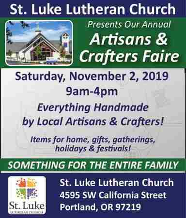 St. Luke Lutheran Church Artisans & Crafters Faire in Portland on 2 Nov