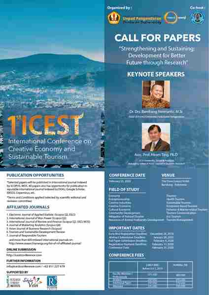 International Conference on Creative Economy and Sustainable Tourism (ICEST) in Bandung on 25 Feb
