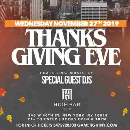 Highbar NYC Thanksgiving Eve Rooftop Party 2019 in New York on 27 Nov