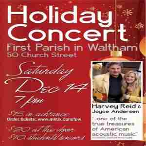 4th annual Harvey Reid and Joyce Andersen Holiday concert in Waltham on 14 Dec