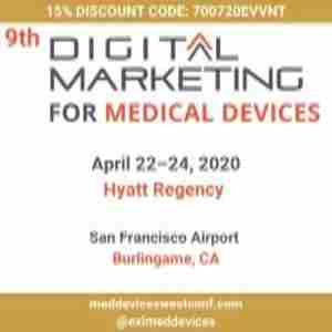 9th Digital Marketing for Medical Devices West in Burlingame on 22 Apr
