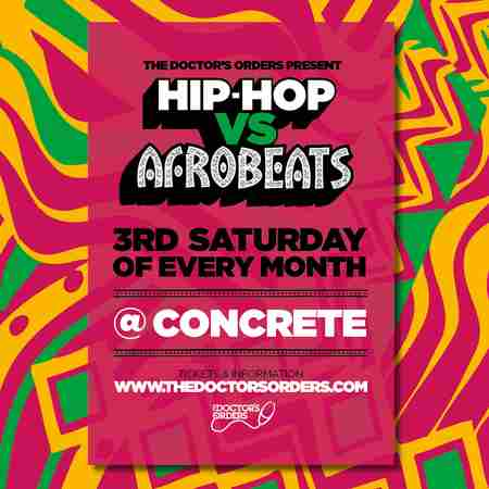 Hip-Hop vs Afrobeats @ Concrete Shoreditch, Sat 19th September in London on 19 Sep