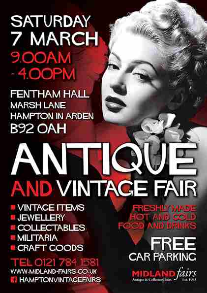 Midland-Fairs Antique Retro and Vintage fair in Hampton-in-Arden on 7 Mar
