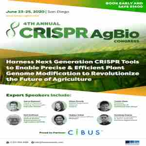 4th CRISPR AgBio Congress 2020 in San Diego on 23 Jun