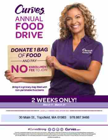 Curves Topsfield Annual Food Drive March 9-21 in Topsfield on 9 Mar