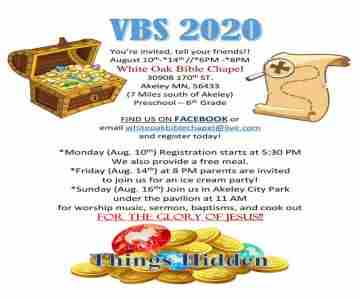 White Oak Bible Chapel's 2020 VBS in Akeley on Monday, August 10, 2020