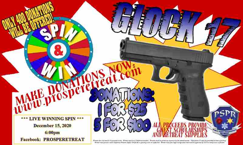 PSPR Fundraiser: GLOCK 17 **LIVE** Spin-and-Win in Kern County on 15 Dec