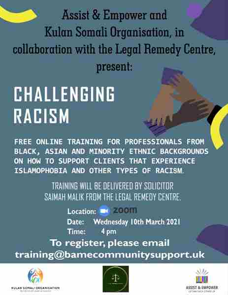 Challenging Racism: Free online training for BAME professionals in Moffat on 10 Mar