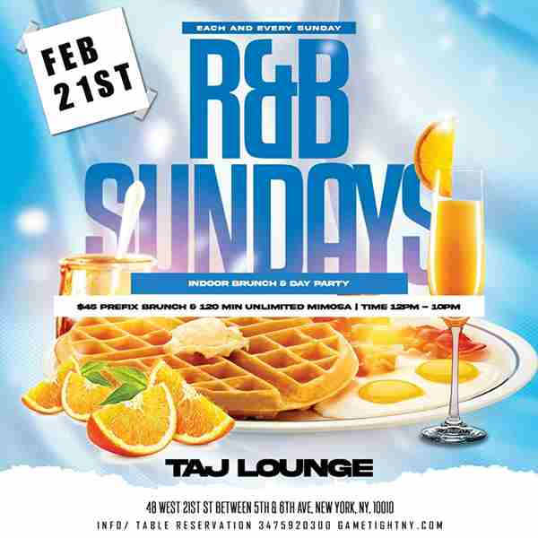 Taj Lounge NYC Sunday Funday Hip Hop vs. Reggae® Brunch & Day Party in New York on 21 Feb