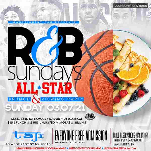 Taj Lounge NYC Sunday Brunch Hip Hop vs. Reggae® & R&B Day Party in New York on 7 Mar