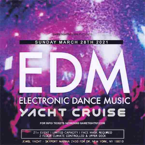 EDM Sunset Yacht Party Sunday Funday Cruise at Skyport Marina 2021 in New York on 28 Mar