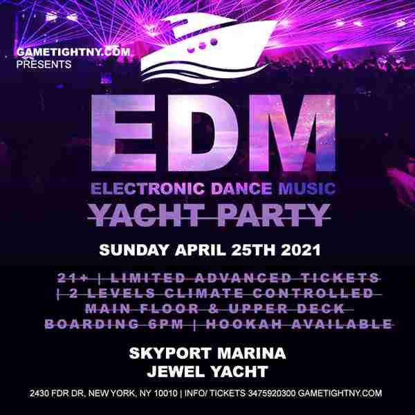 EDM Sunday Sunset Yacht Party Cruise at Skyport Marina Jewel Yacht 2021 in New York on 25 Mar