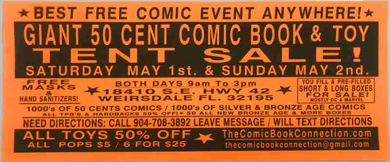 CBC Giant 50-CENT Comic Book and Toy Tent Sale in Florida on 1 May