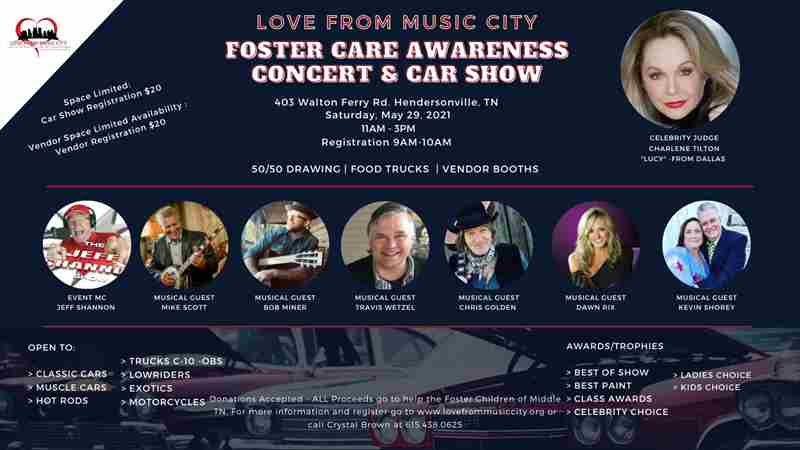 Foster Awarenesses Concert and Car Show in Hendersonville on 29 May