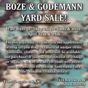Boze and Godemann Yard Sale in Oxford on 17 Apr