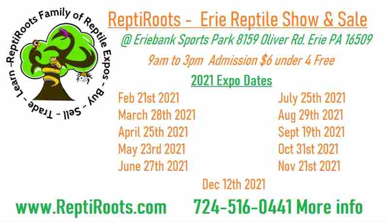 Erie Reptile Show & Sale  May 23rd 2021 in Erie on 23 May