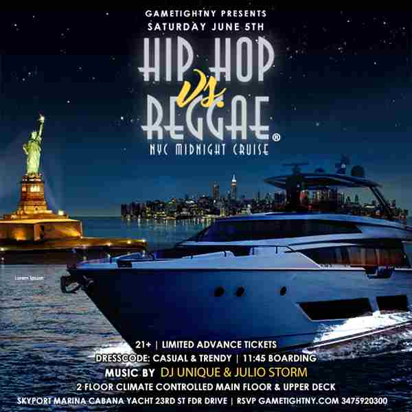 NYC Summer Midnight Hip Hop vs Reggae® Cruise Skyport Marina Cabana Yacht in New York on 5 Jun