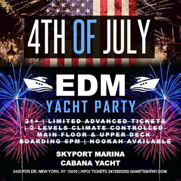 July 4th EDM Sunday Sunset Yacht fire works Skyport Marina Cabana Yacht in New York on 4 Jul